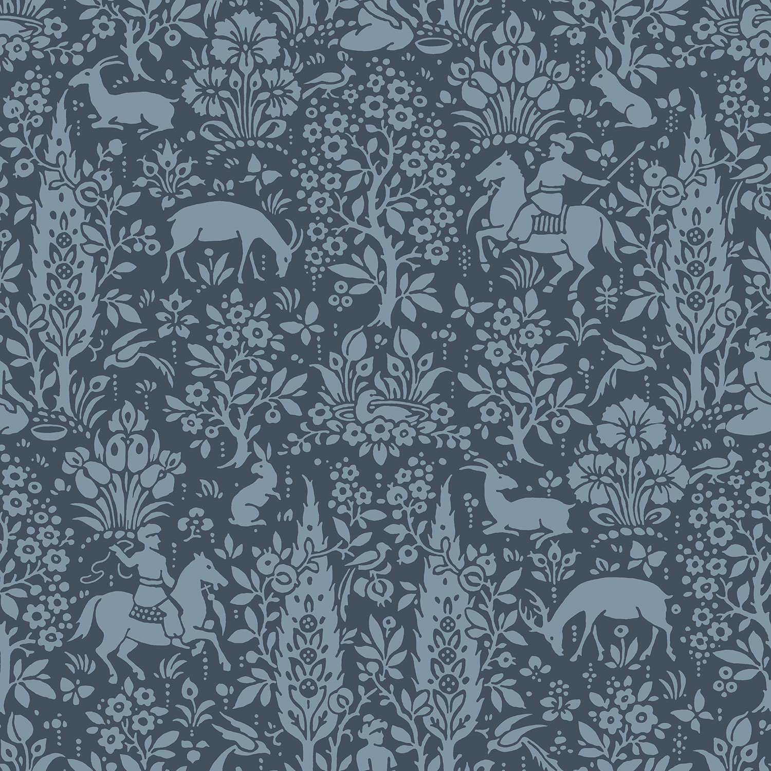 Dark Blue Navy Animal Print Wallpaper Woodland Rabbits Deer
