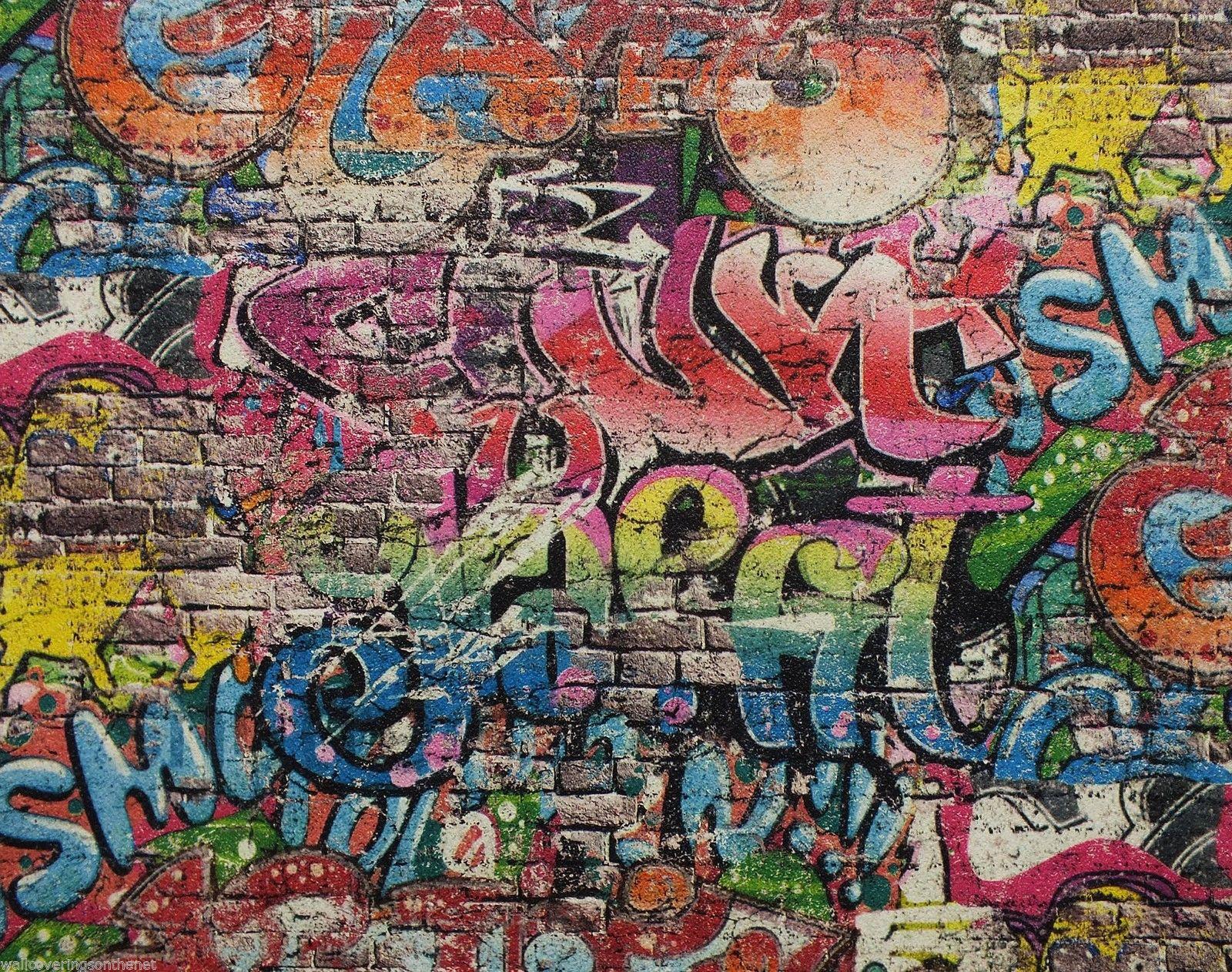 Graffiti Style Wallpaper Teenager Kids Spray Paint Art Steet Urban ...