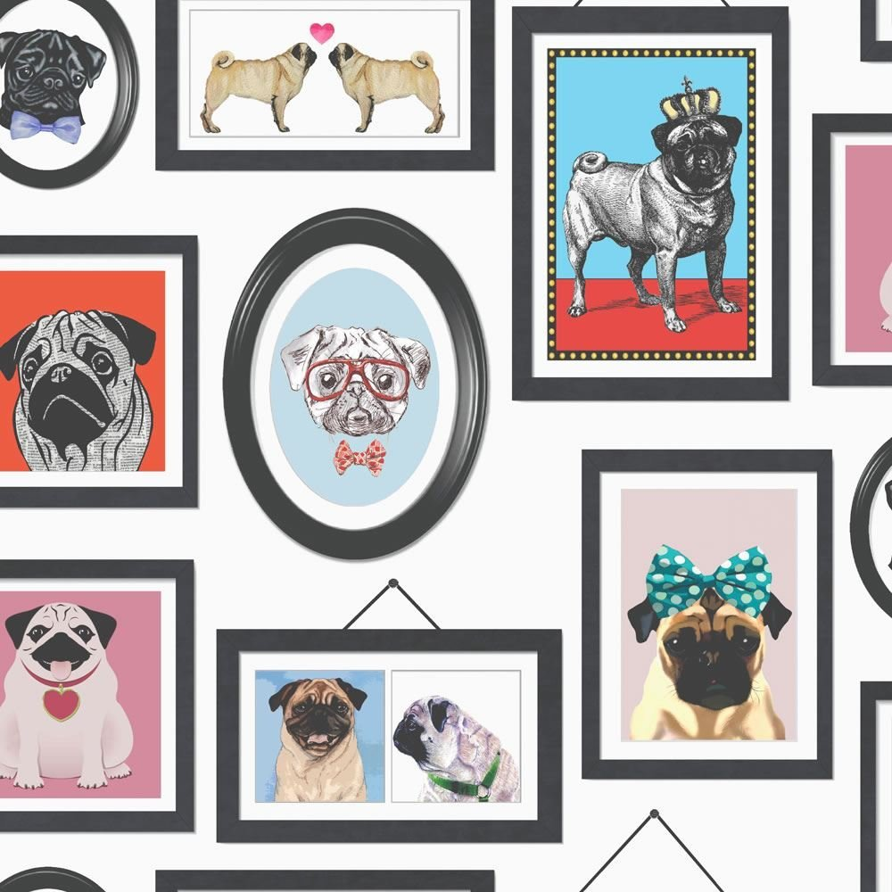 Pug Wallpaper Picture Frames Dogs Canine Animals Photos Retro Funky ...
