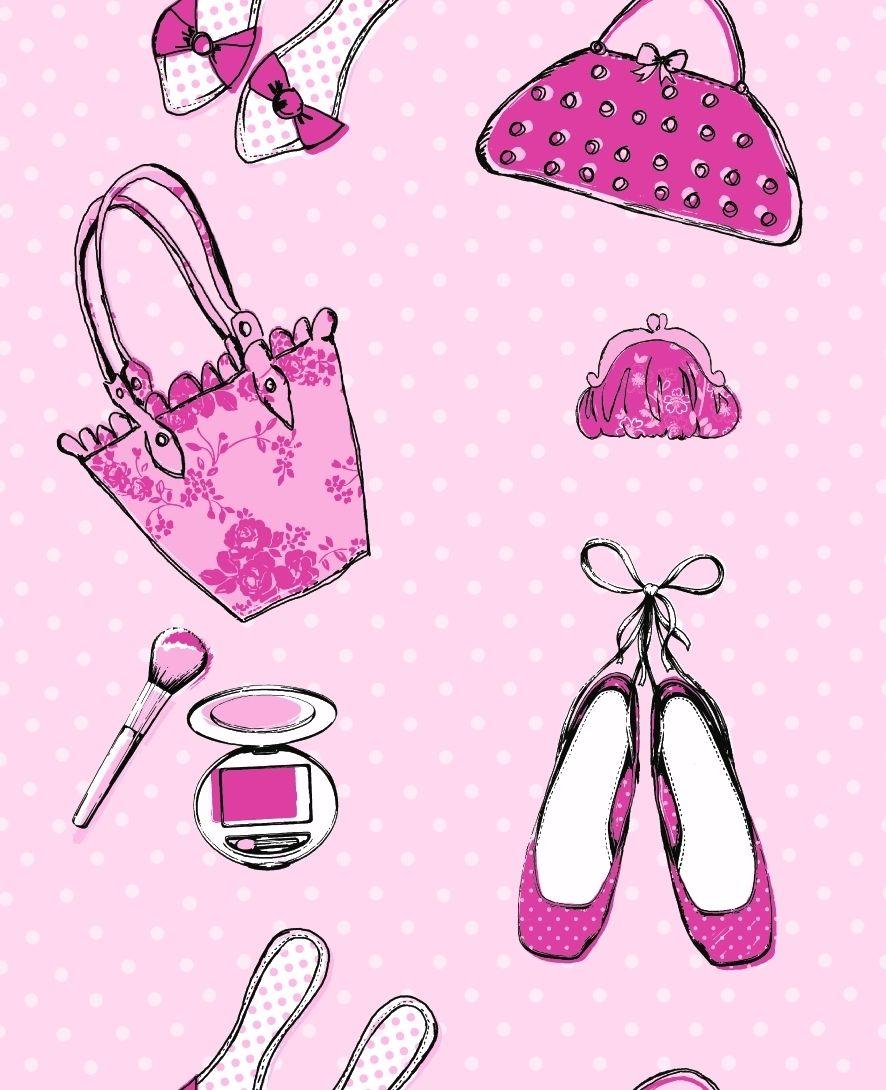 Details about Pink Girls Wallpaper Cute Shoes Handbags Bedroom Nursery Teen Modern Debona