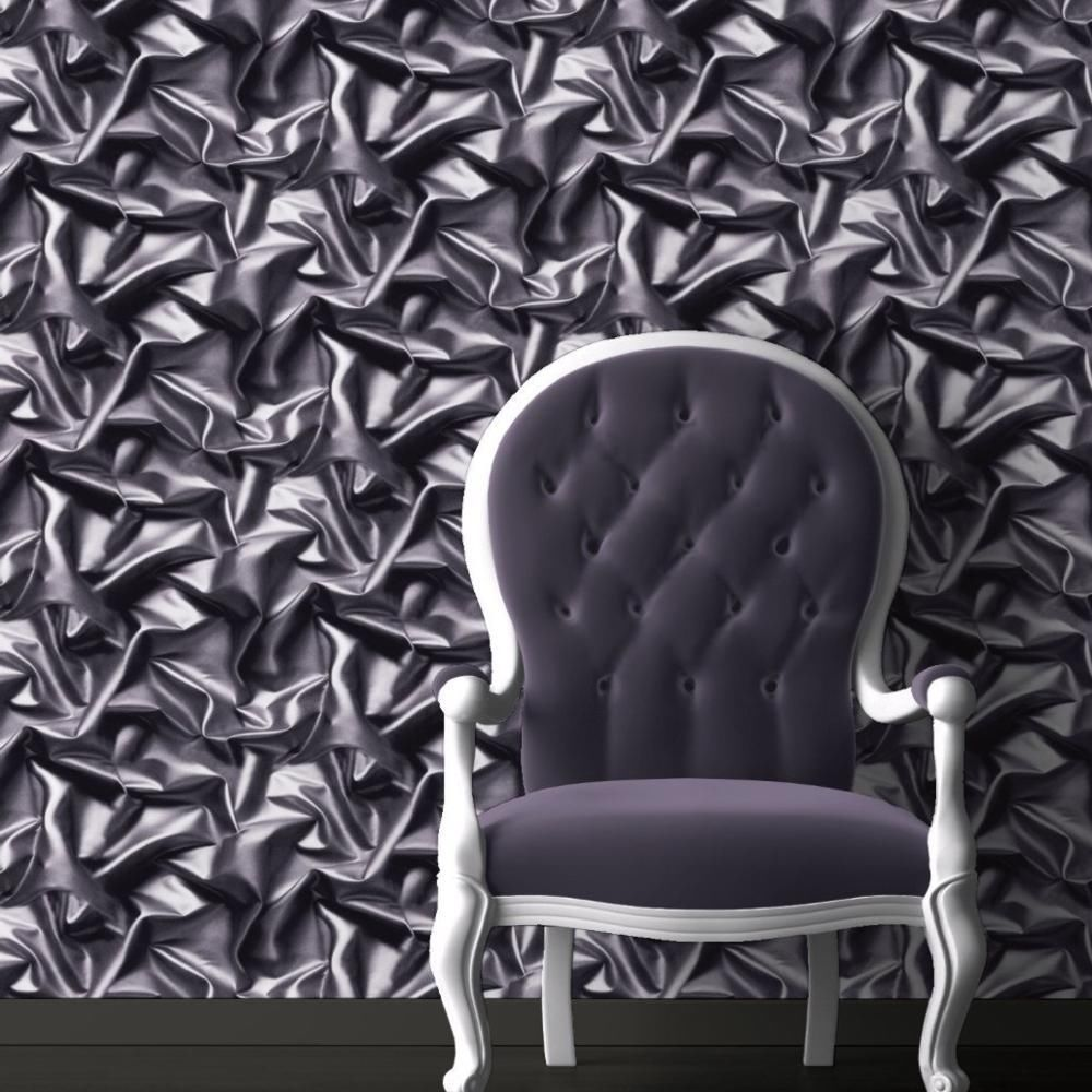 3D Crushed Velvet Silk Fabric Effect Vinyl Wallpaper Grey Black