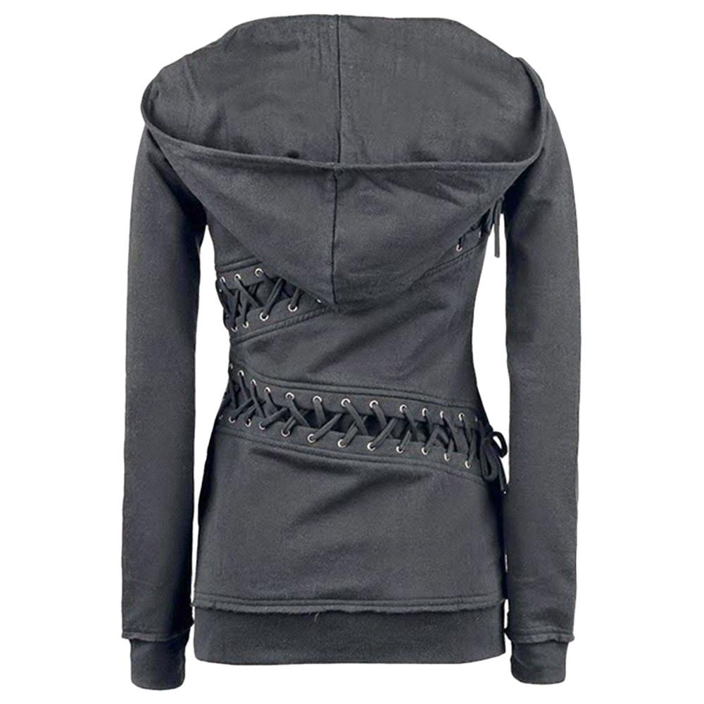 Fashion Women Ladies Long Sleeve Lace Slim Hooded ...