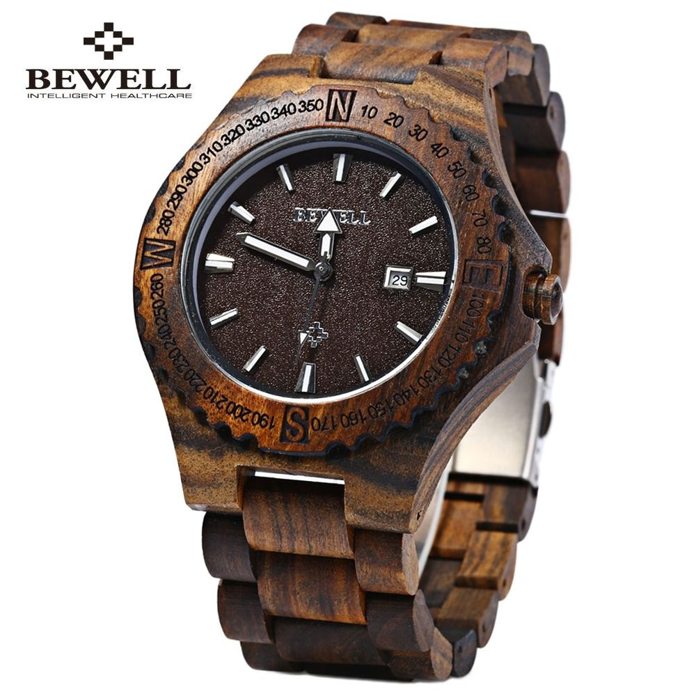 Bewell W023A Wood Watch Wristwatch Wooden Men's Quartz ...