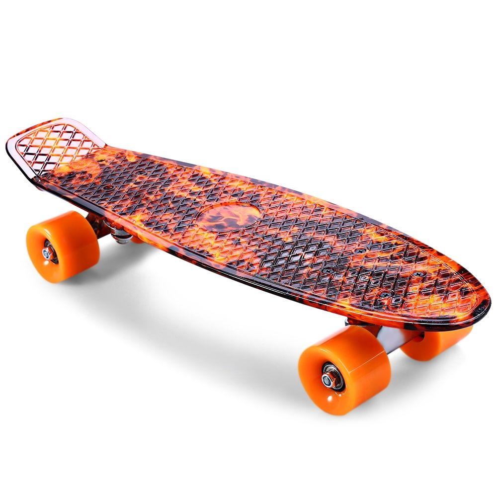 cl 78 22 inch hellfire pattern retro skateboard longboard mini cruiser aus ebay. Black Bedroom Furniture Sets. Home Design Ideas