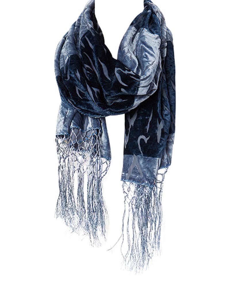 Amtal-Women-Safari-Animal-Design-Velvet-Silk-Burnout-Oblong-Scarf-w-Tassels