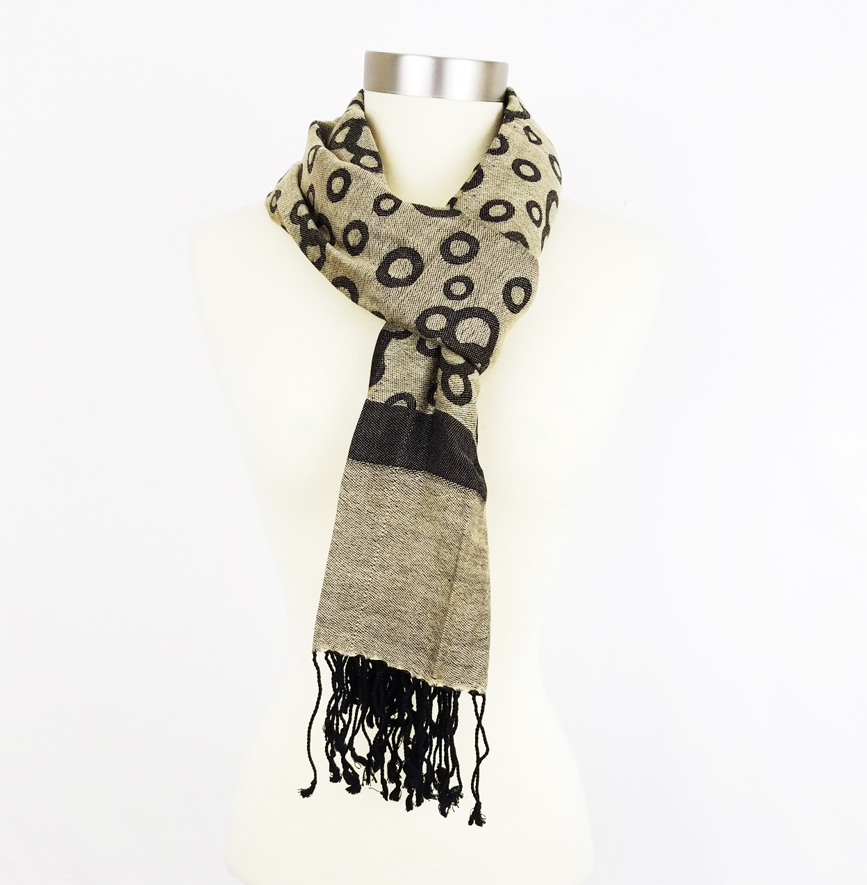 Amtal-Premium-Women-Circle-Bubbles-Design-Pashmina-Style-Shawl-Scarf-w-Fringes