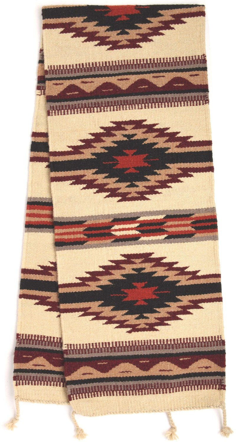 Southwest Style Table Runner Hand Woven Wool 16 X 80 In