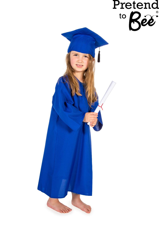 Childrens Kids Boys Girls Graduation Gown Cloak & Cap Hat Fancy ...
