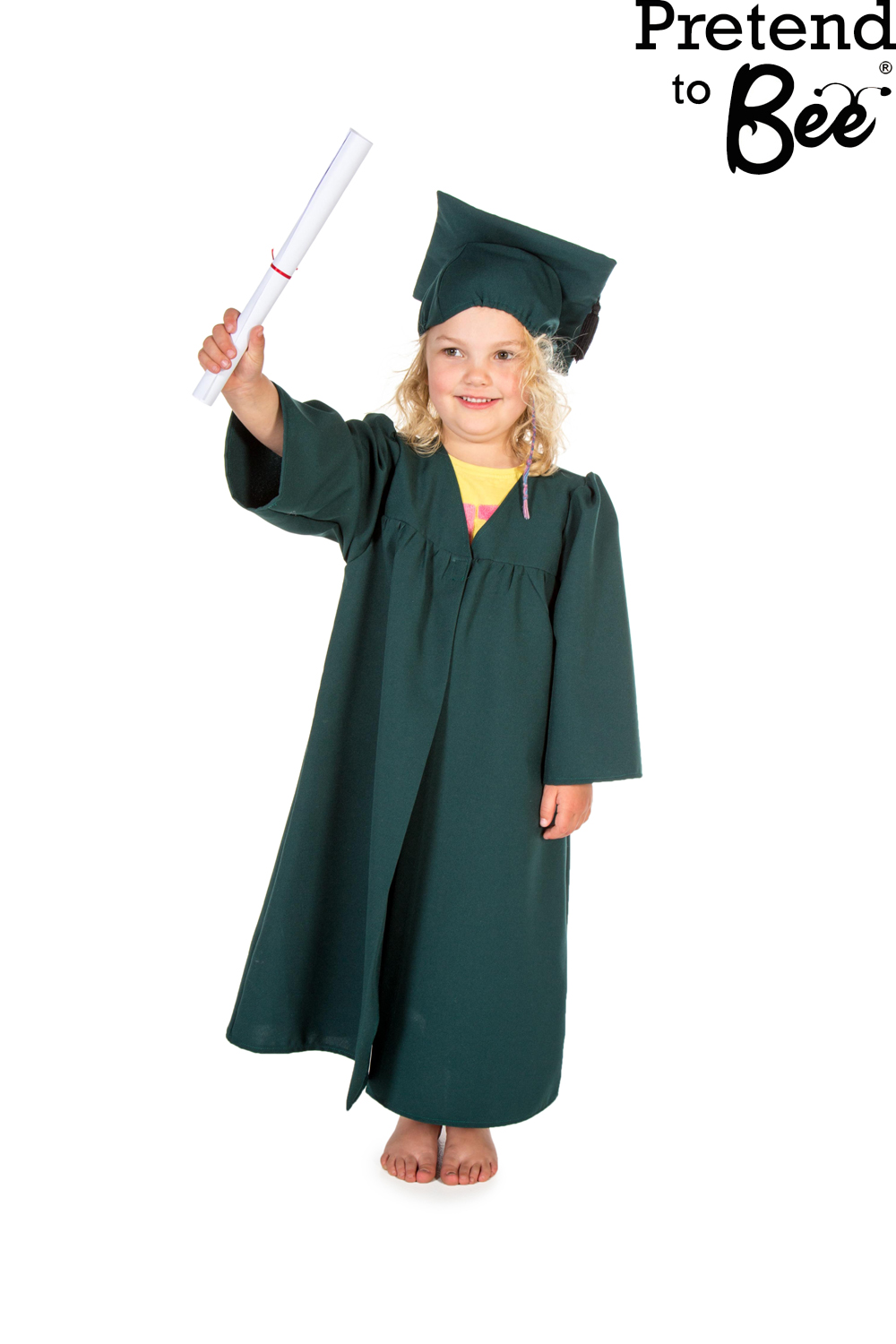 Childrens Kids Boys Girls Graduation Gown Cloak & Cap Hat Fancy ...