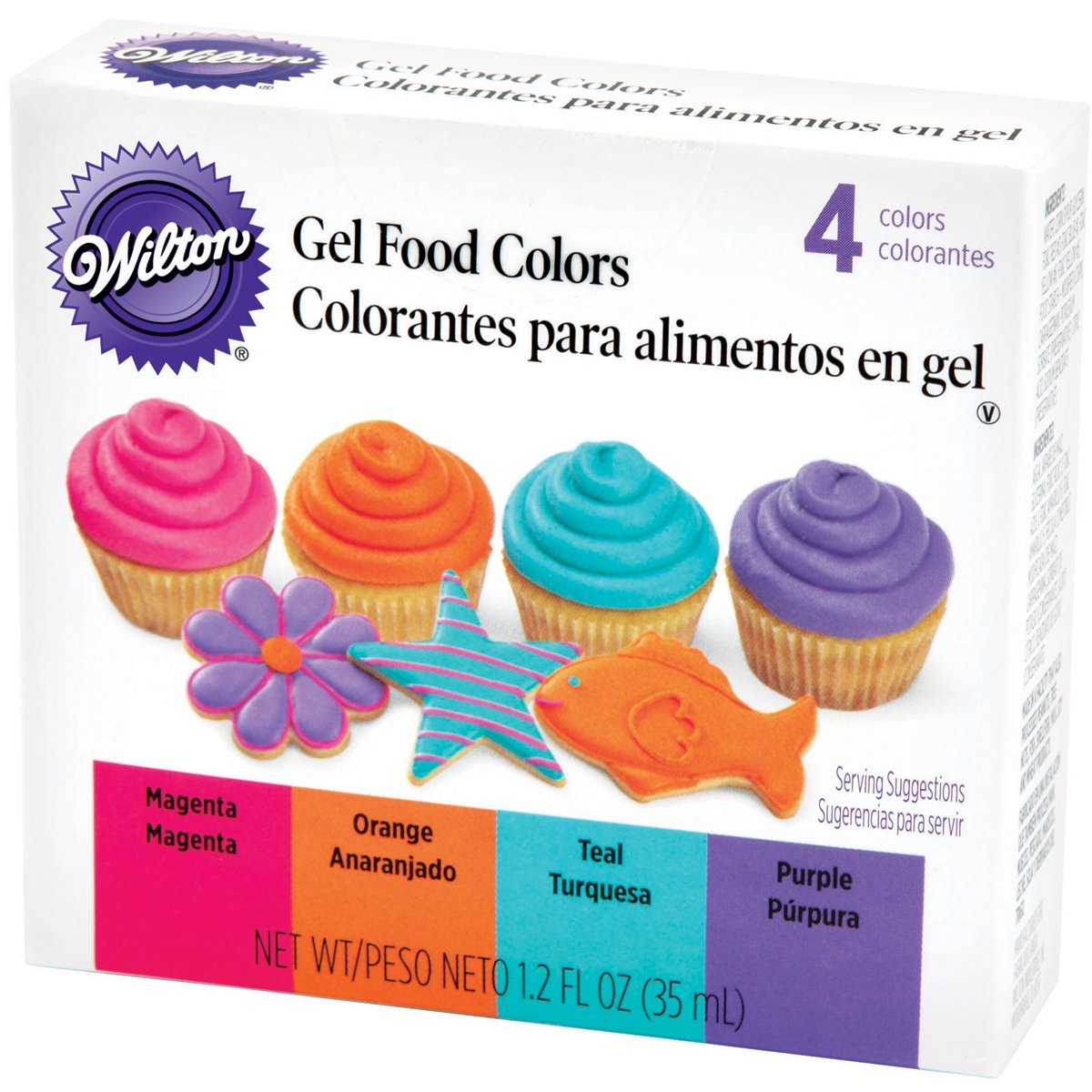 Wilton Neon Gel Food 4-Color Set - Magenta Orange Teal Purple Icing ...