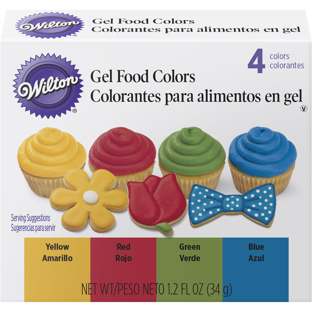 Details about Wilton Primary Gel Food Colors Set 0.3 fl oz Bottles -Blue,  Green, Red, Yellow