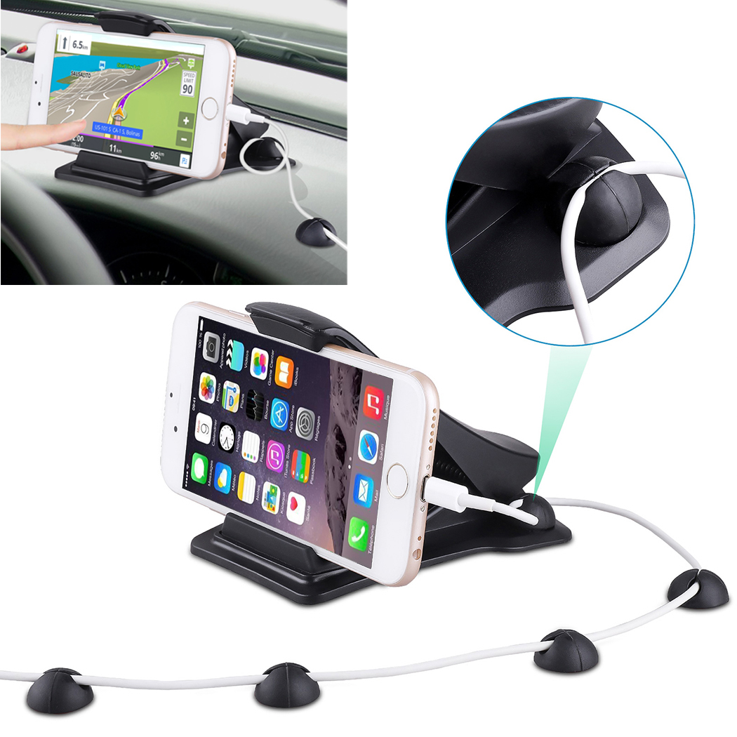 Car Dashboard Phone Holder HUD Design Non-Slip Car Phone Mount Stand Universal Phone Holder Cradle with 3 Cable Clip Holders for iPhone Car Phone Mount Samsung Under 6.5