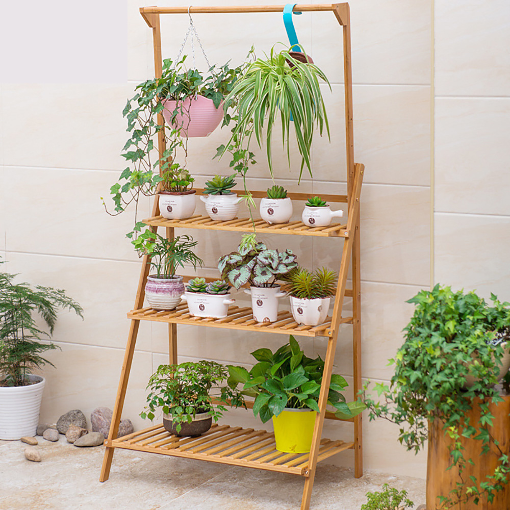 3 Tier Folding Shelf Hanging Plant Stand Bamboo Flower Pot Display