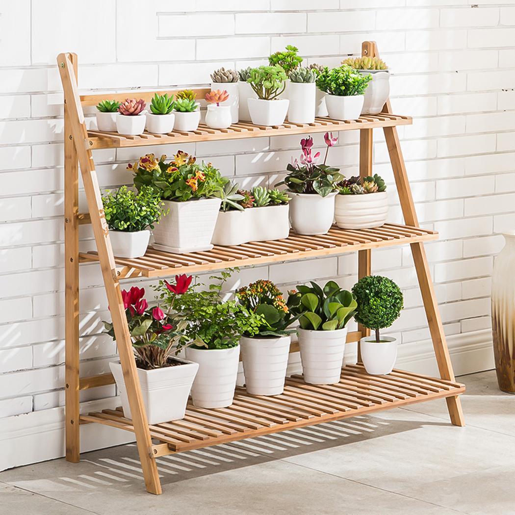 3 Tier Folding Shelf Hanging Plant Stand Bamboo Flower Pot Display
