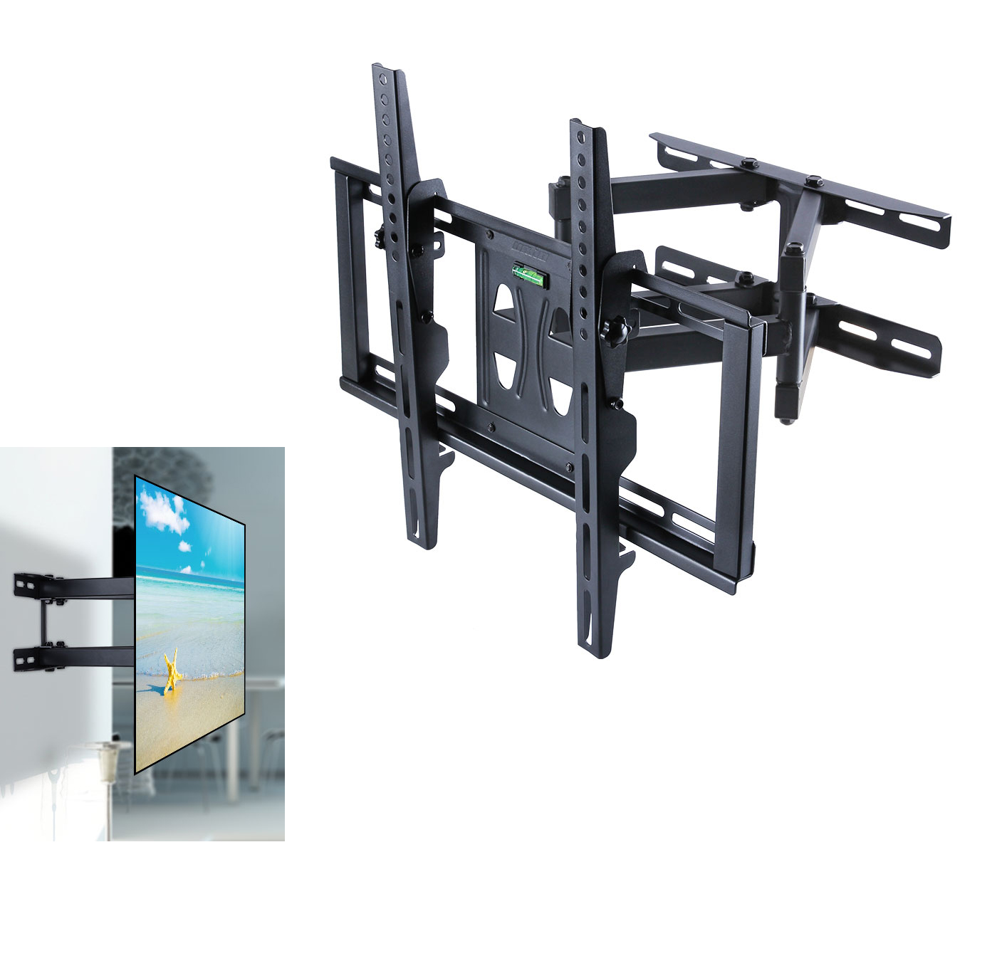 Double Arm Tilt Swivel Tv Wall Mount Bracket Plasma 55 50