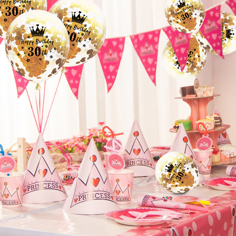5Pcs 12 Clear Confetti Filled Balloons For Wedding Birthday