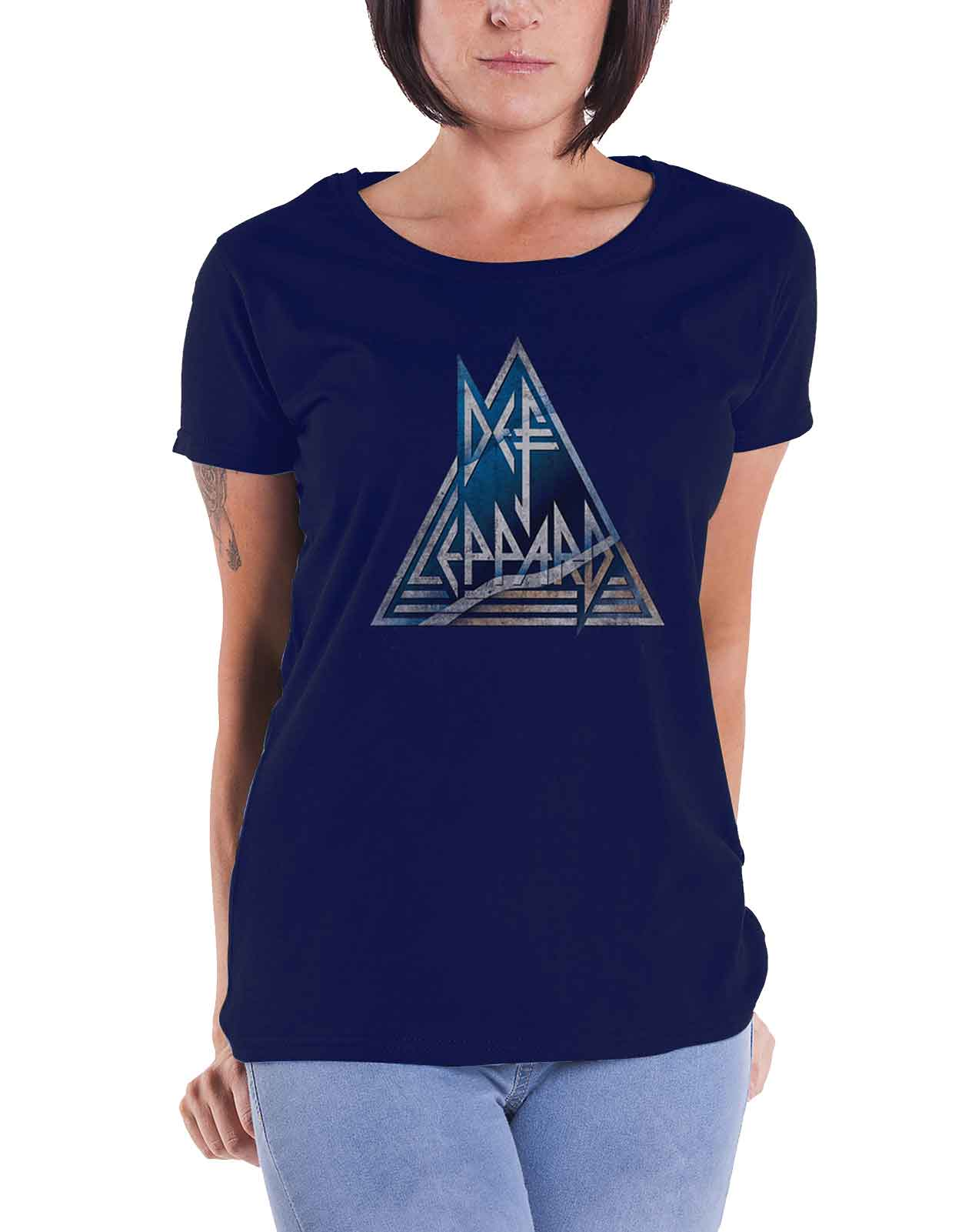 0eac78aac3a33f Def Leppard T Shirt Triangle band Logo Official Womens Skinny Fit Navy Blue