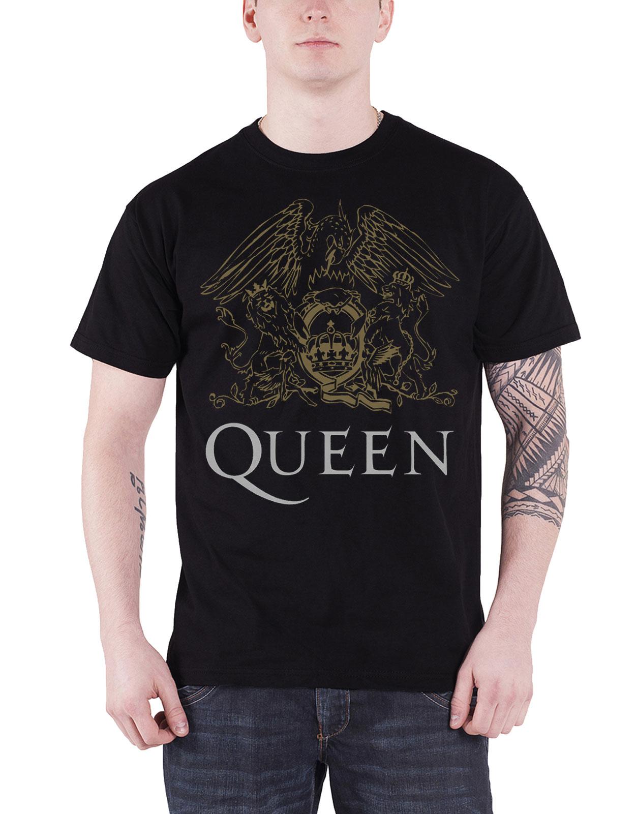 Queen-T-Shirt-mens-Crest-band-logo-Bohemian-