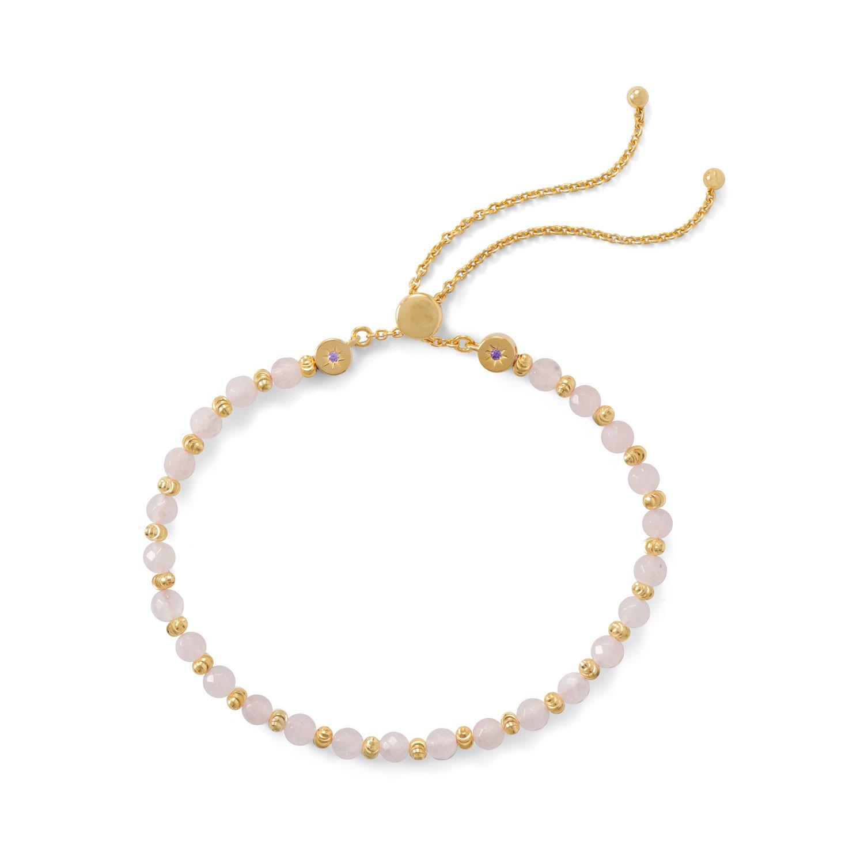 465e157f3a6c2e Bolo Charm Friendship Bracelet with Rose Quartz Gold-plated Sterling Silver