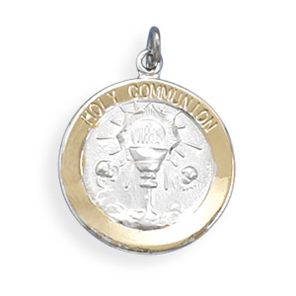.925 Sterling Silver Kid/'s Antiqued First Holy Communion Medal Charm Pendant