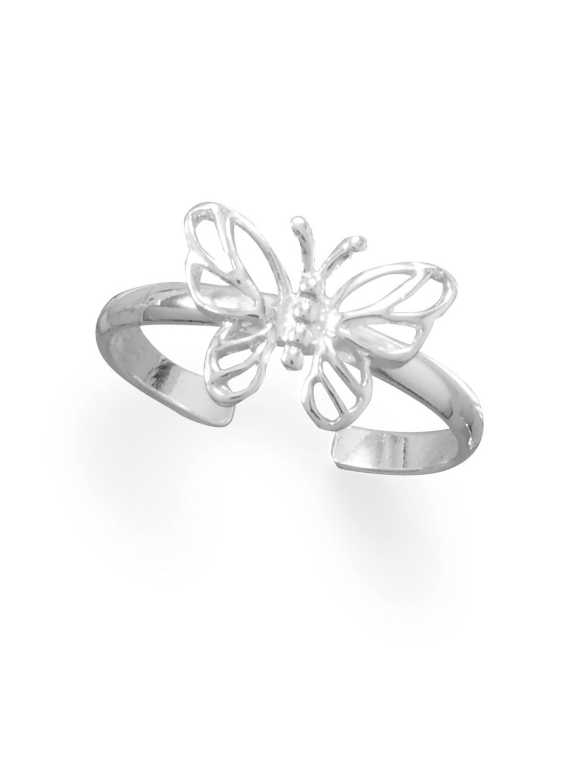 Sterling Silver Points and Wave Line Designer Toe Ring