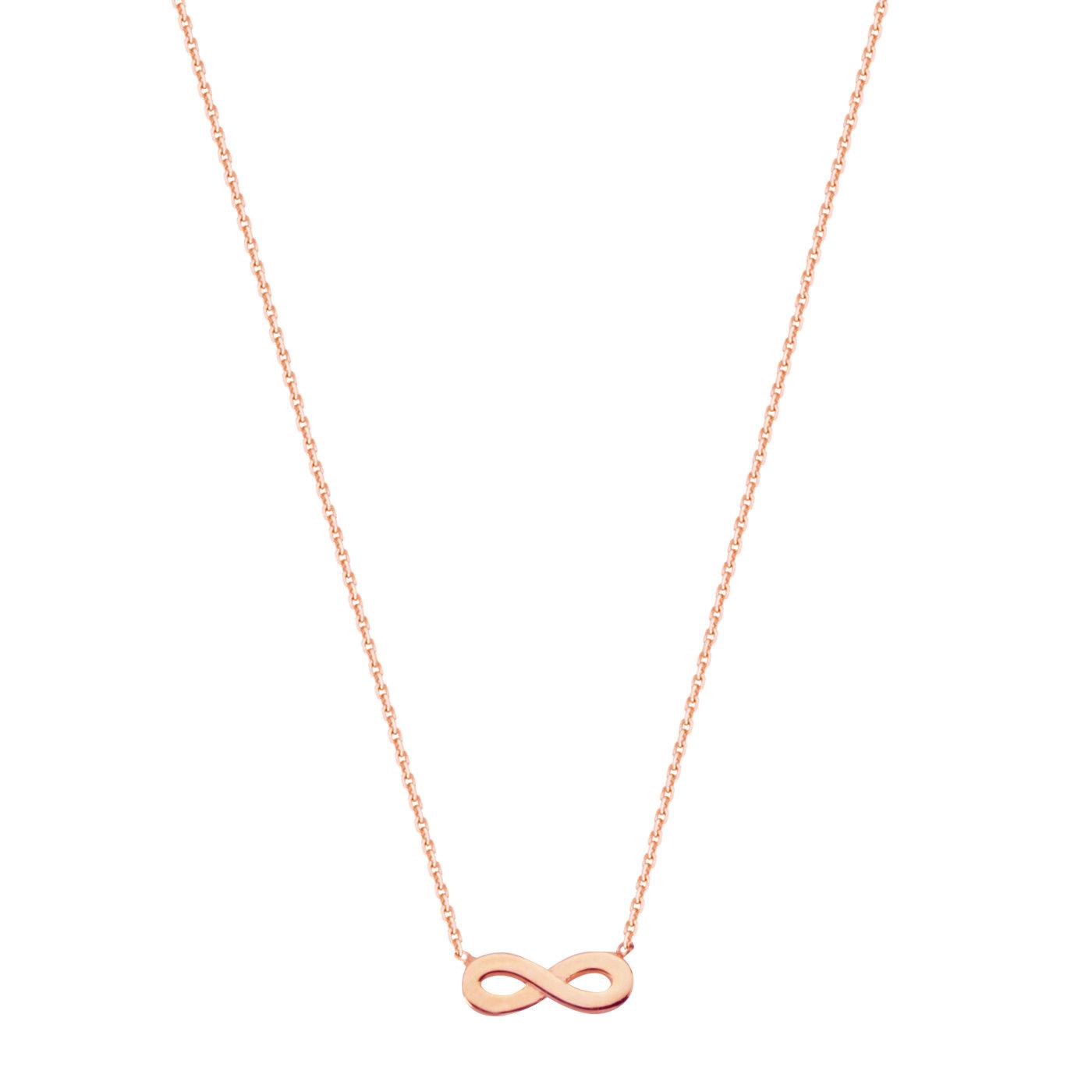 14k Rose Gold Mini Infinity Symbol Necklace East2west Adjustable