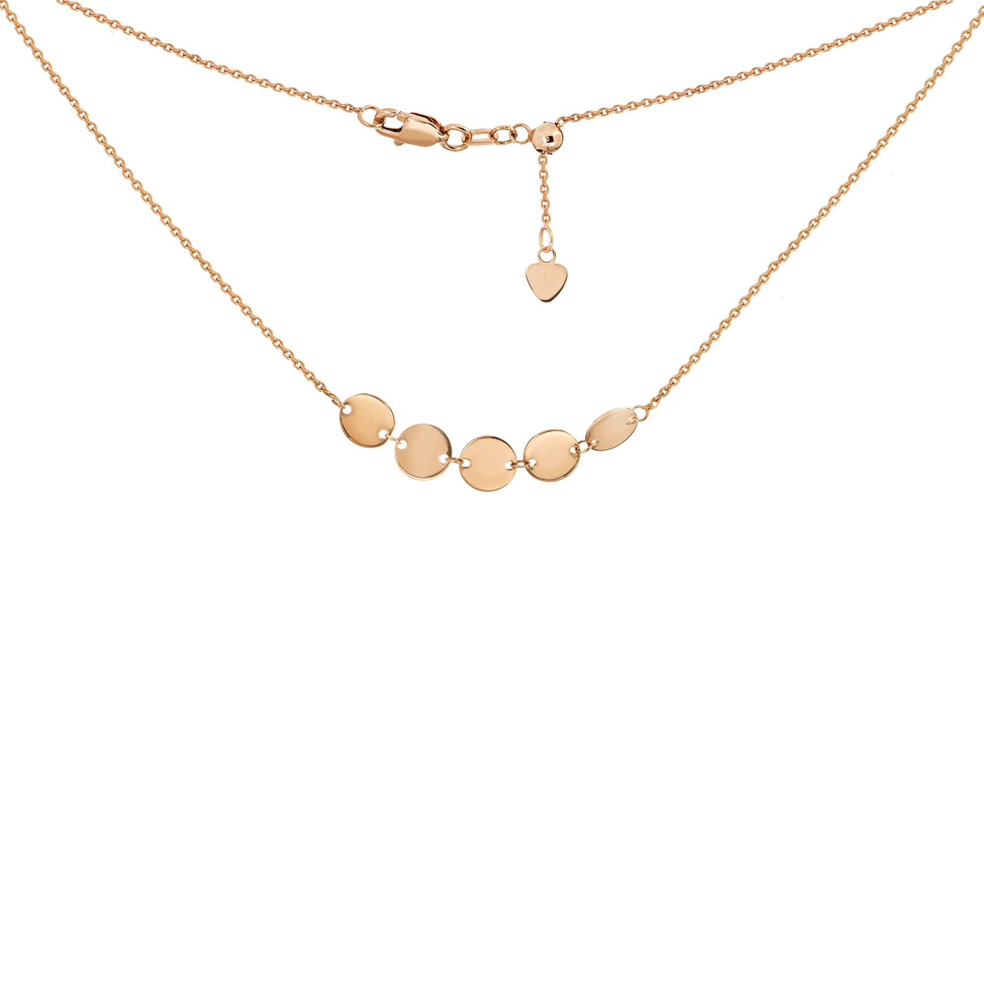 9fc912c0d5a523 Choker Necklace with Disks Chain 14k Rose Gold - Adjustable | eBay