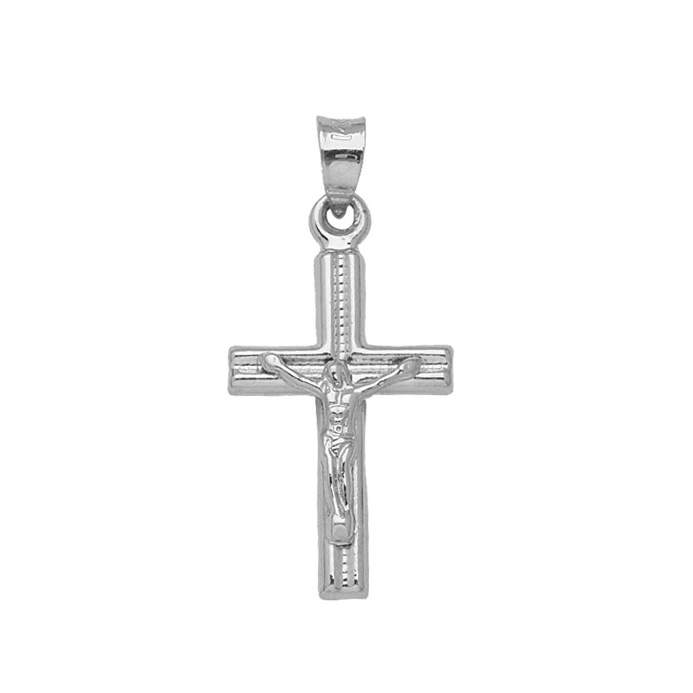 14k white gold crucifix pendant cross pendant only ebay 14k white gold crucifix pendant cross pendant only aloadofball Image collections