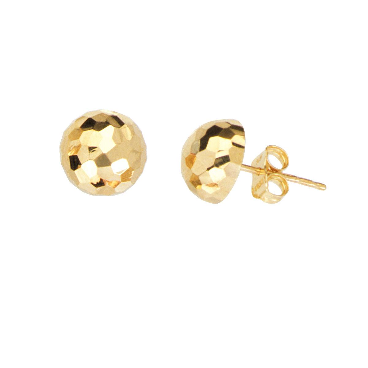 e10466b12 14k Yellow Gold Half Ball Stud Earrings Mirror Disco Diamond-cut Texture