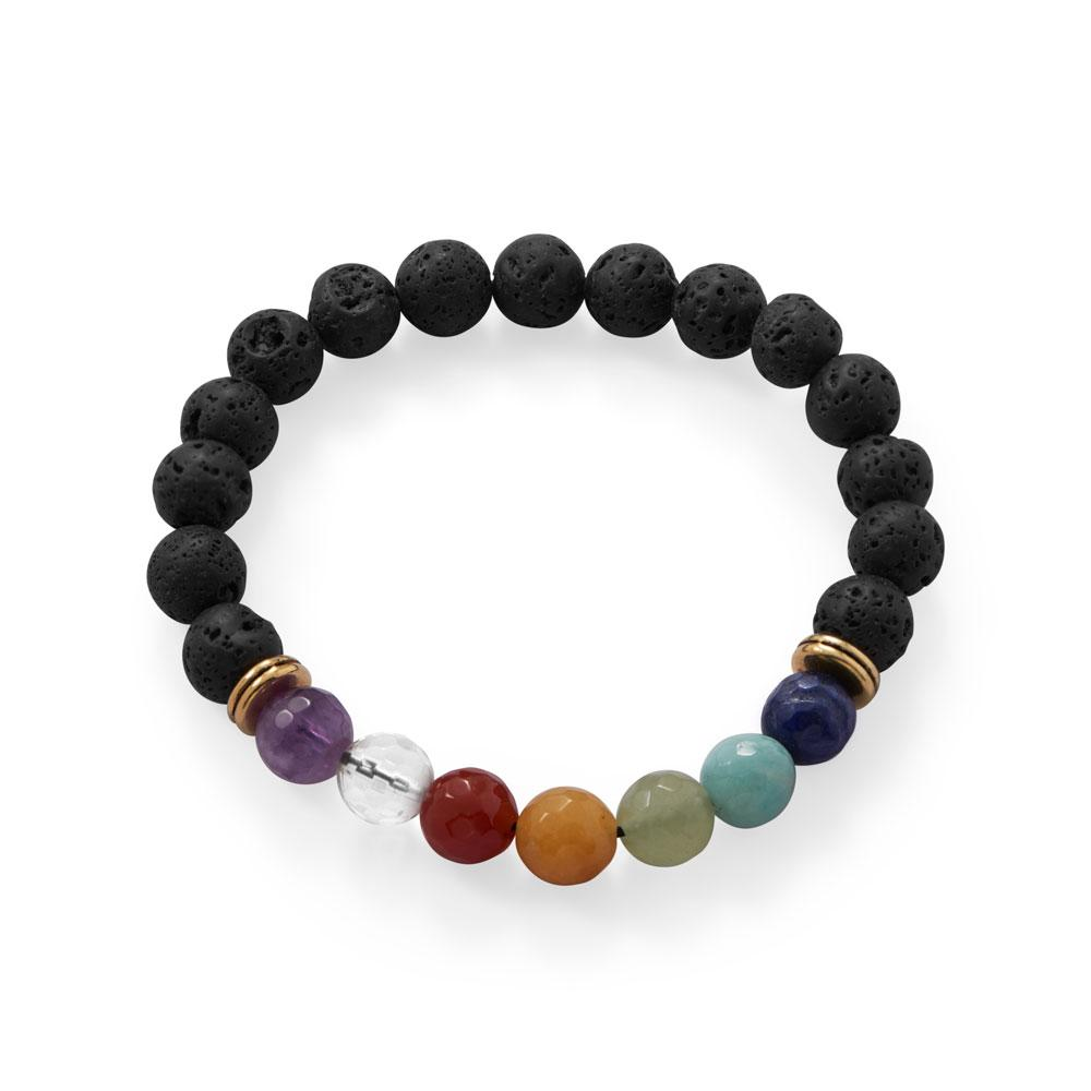Carnelian and lava bead stretch bracelet