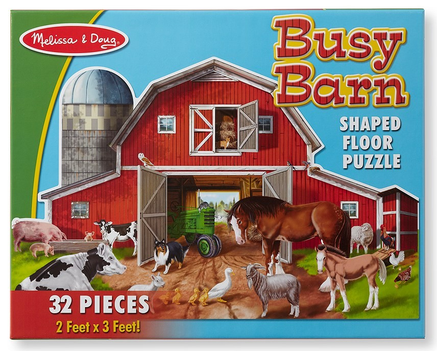 Details About Melissa Doug 32 Piece Farm Animal Busy Barn Barnyard Shaped Floor Puzzle