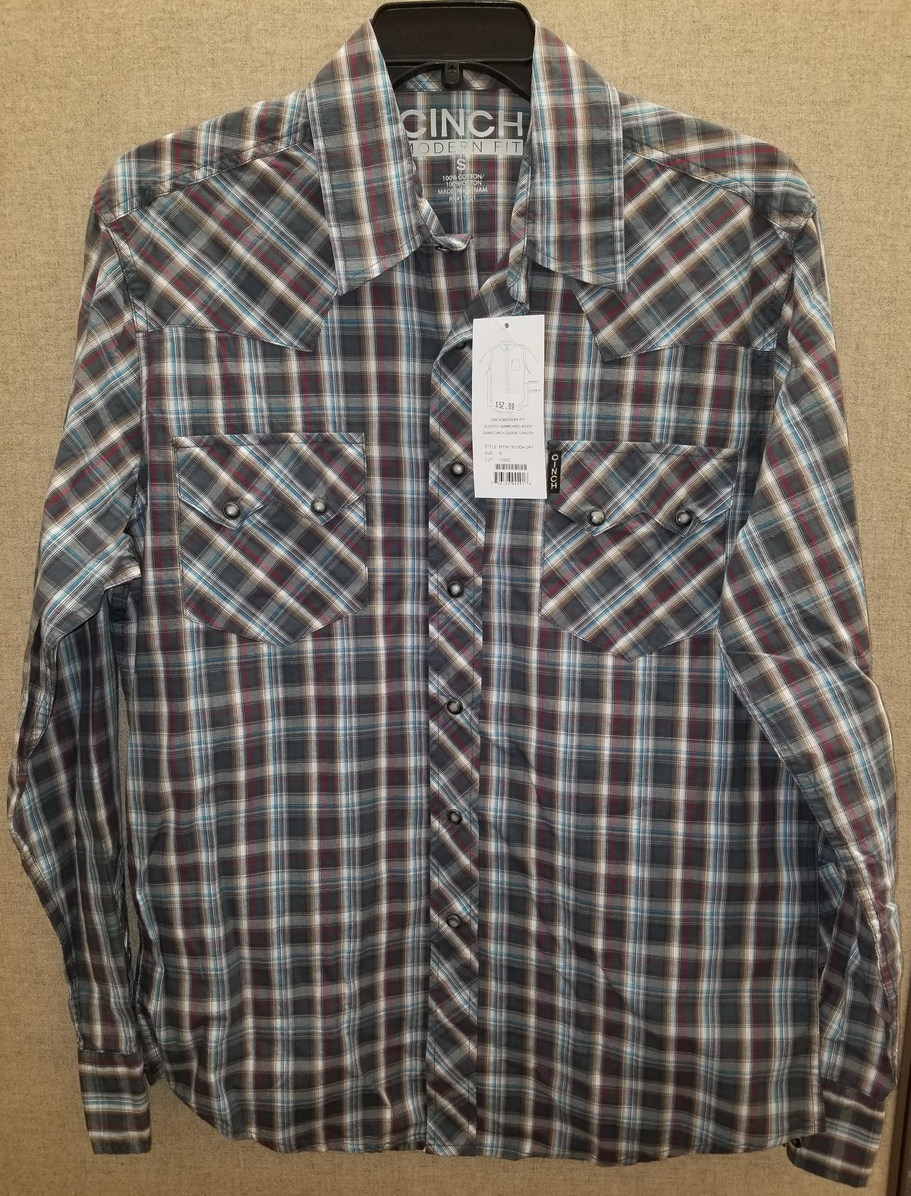b6fad5c1 Cinch Men's Gray Burgundy Plaid GreyMarble Snap Shirt Small Modern Fit  Western