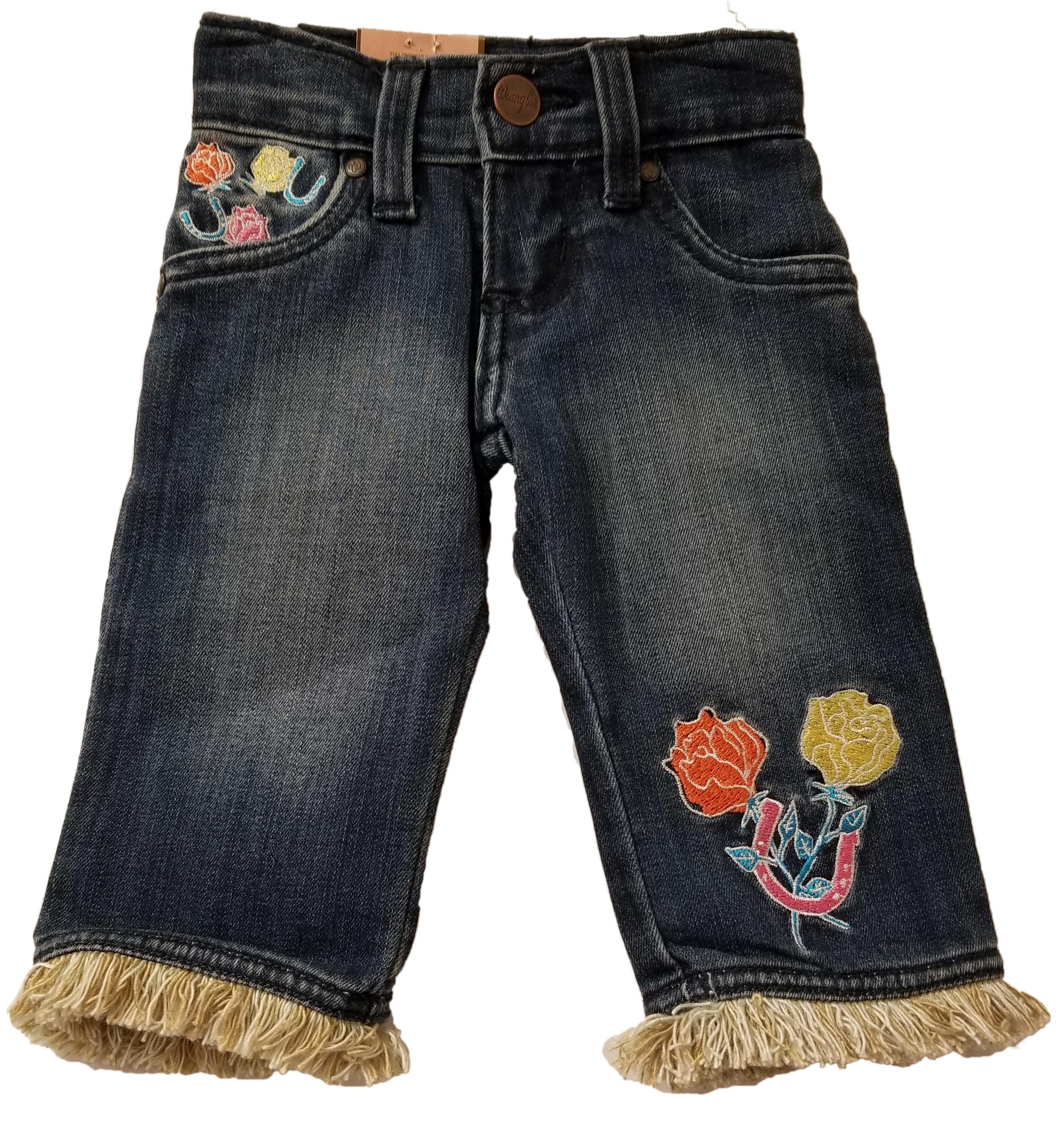 f9cf99dc6d24 Wrangler All Around Baby Infant Toddler Girl s Fringe Hem Embroidery ...