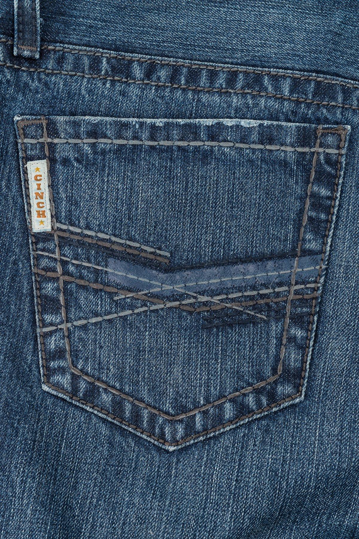 300436a1 CINCH Men's Ian Jeans November Dark Stonewash Mid Rise, Slim, Boot Cut