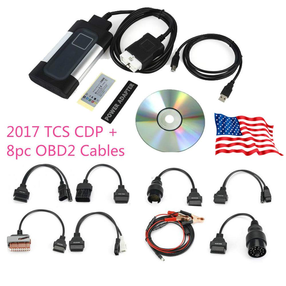 2017 tcs cdp pro plus for autocom car obd2 diagnostic tool 8pcs cables