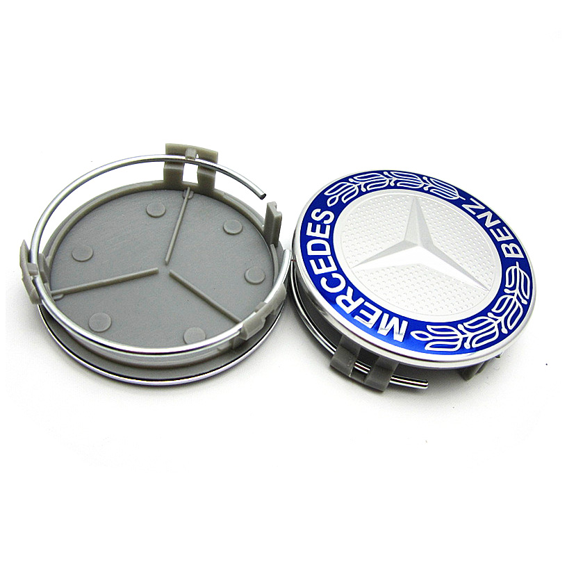 Set of 4 65mm blue classic logo wheel center hub cap for Mercedes benz center cap