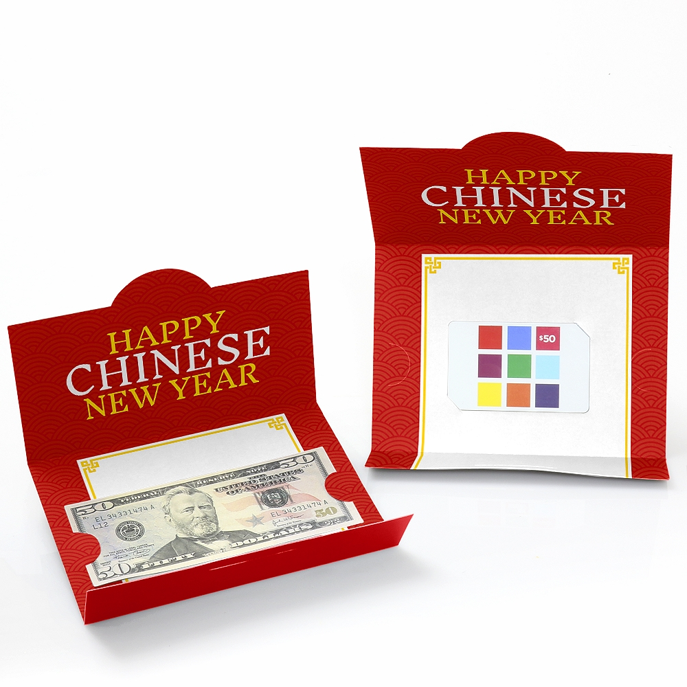 Money Holder Cards - Chinese New Year Gift with Red Envelope Design ...
