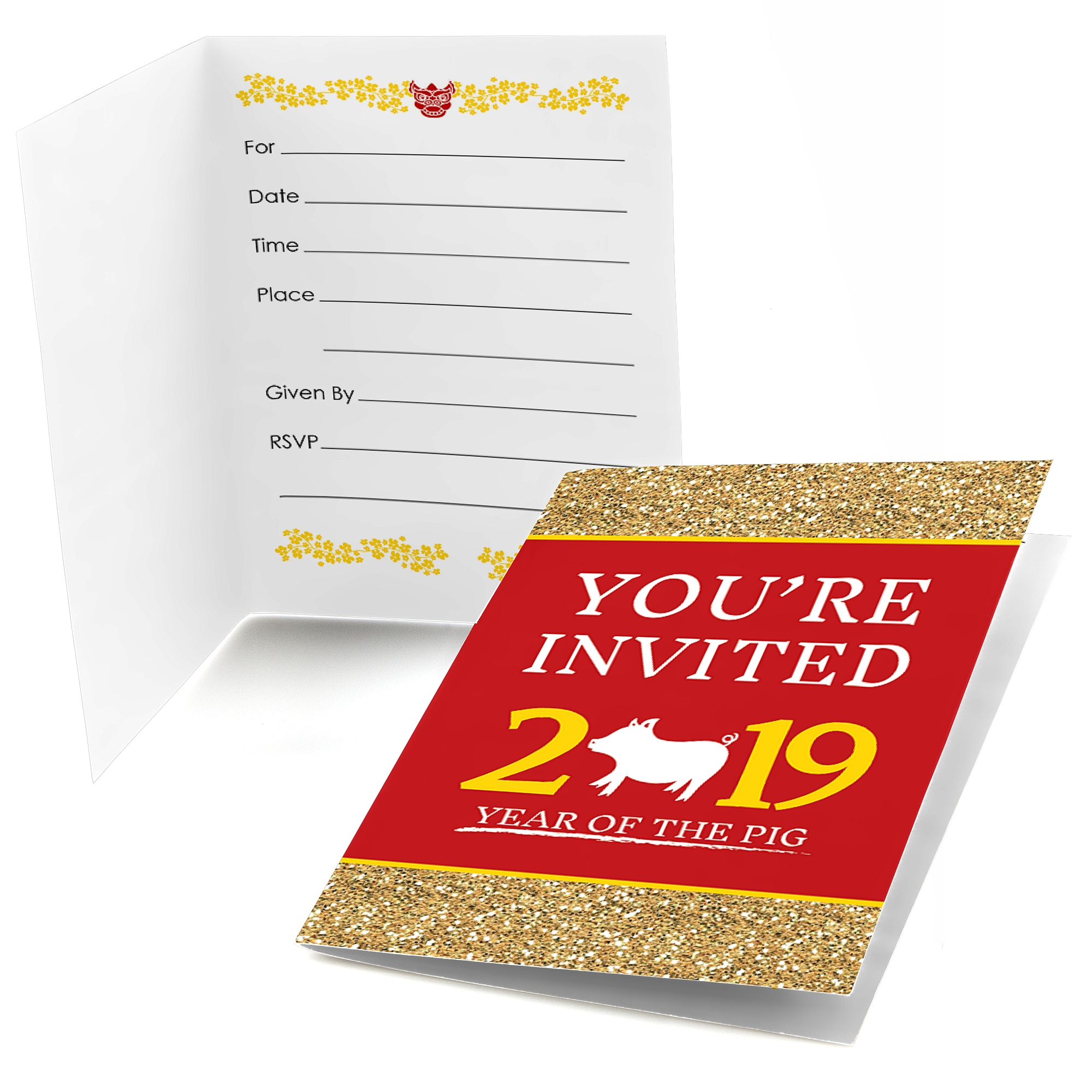 Chinese New Year - Fill In Year of the Pig Party Invitations (8 ...