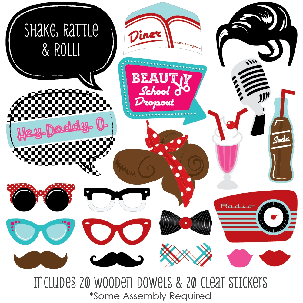 50\'s Sock Hop - 1950s Rock N Roll Party Photo Booth Props Kit - 20 ...