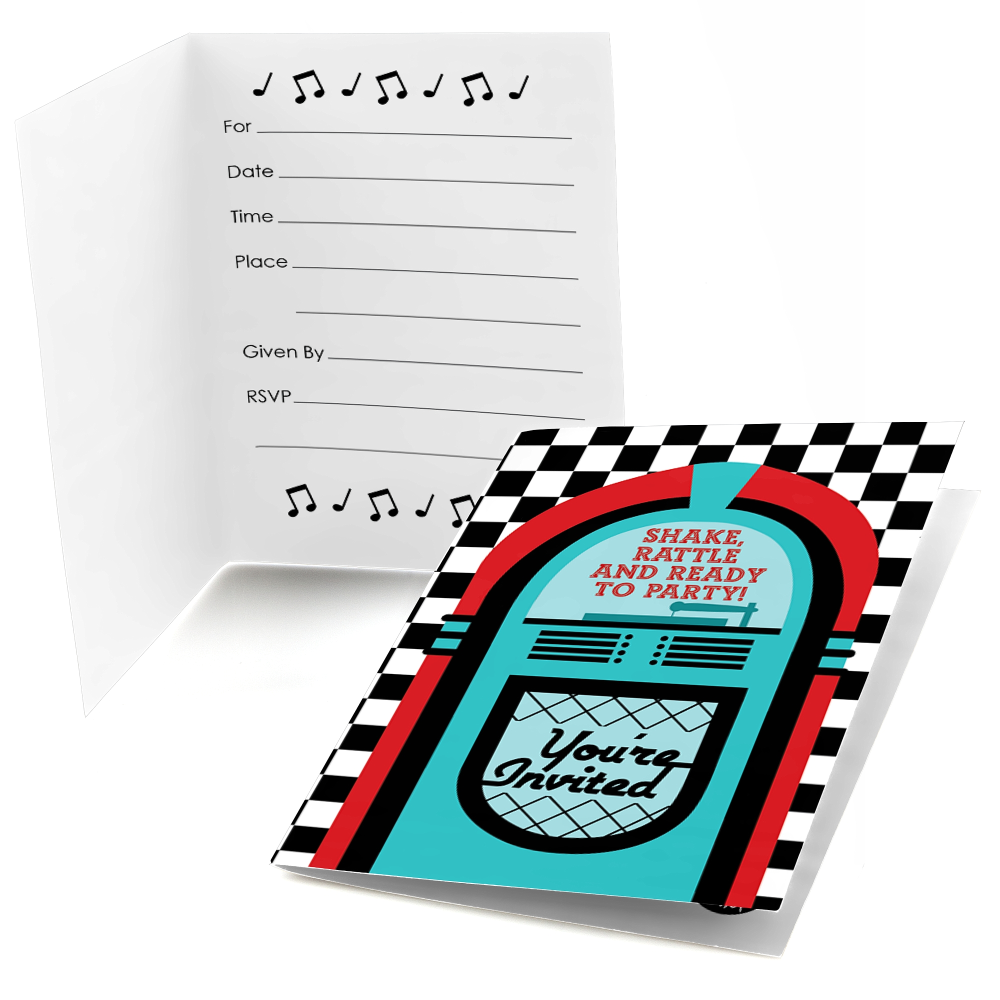50\'s Sock Hop - Fill In 1950s Rock N Roll Party Invitations (8 count ...