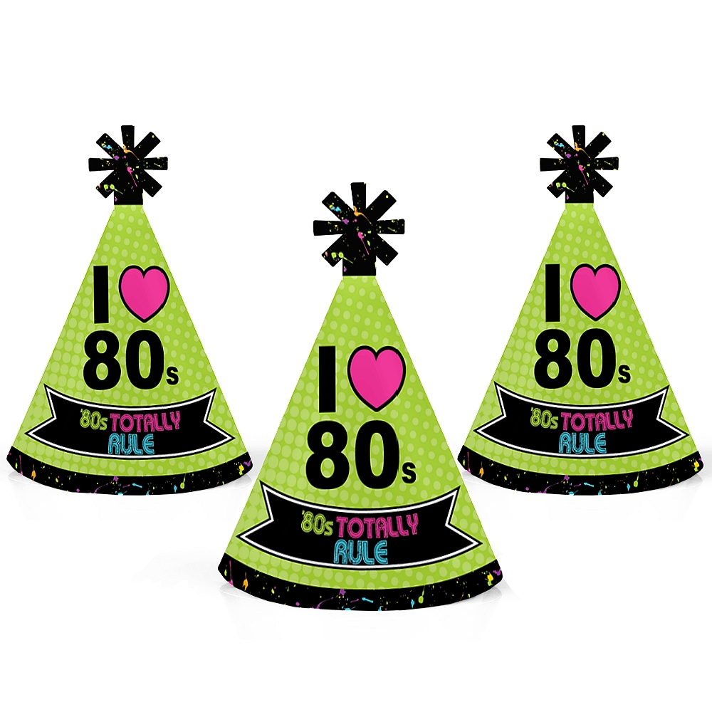 80\'s Retro - Mini Cone Totally 1980s Party Hats - Small Little Party ...