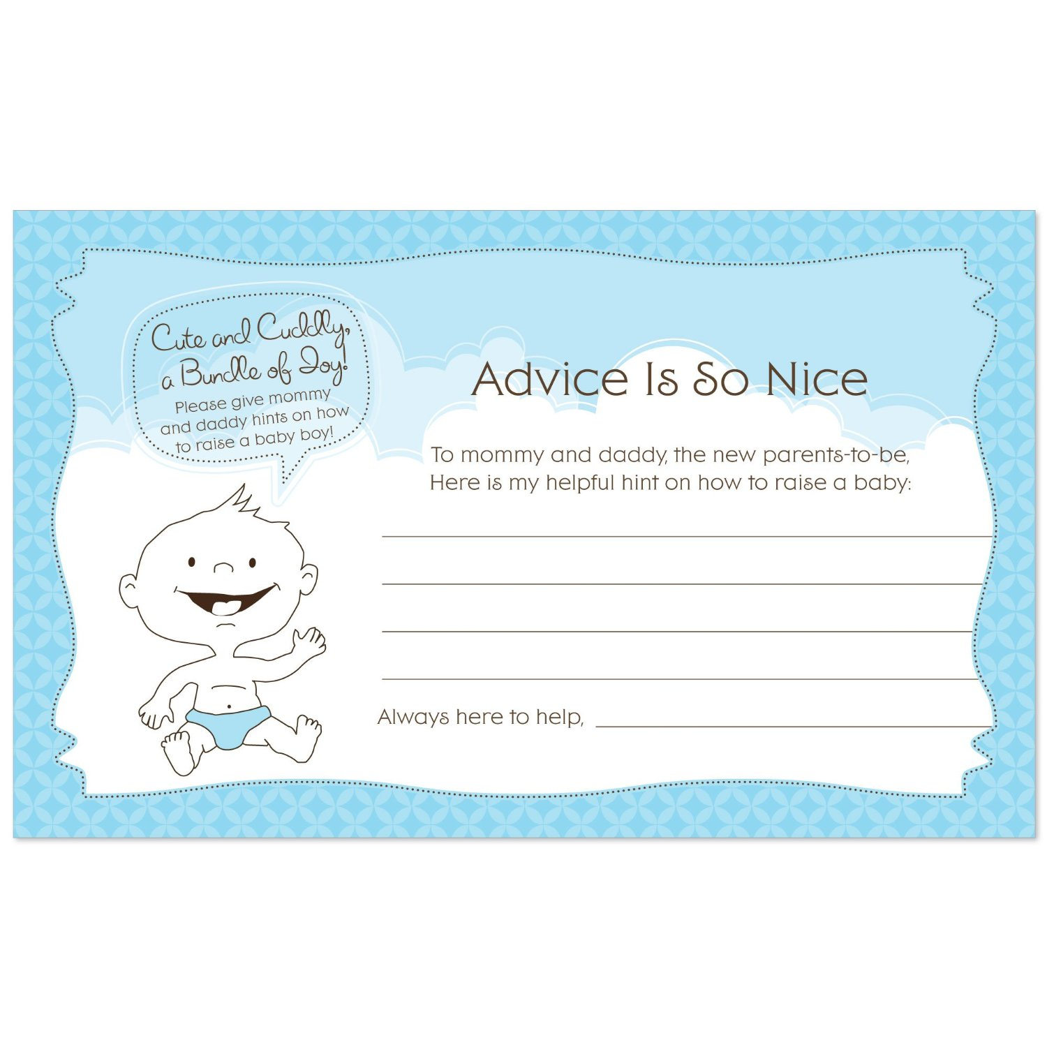 Baby Boy Baby Shower Advice Cards 18 Count Ebay