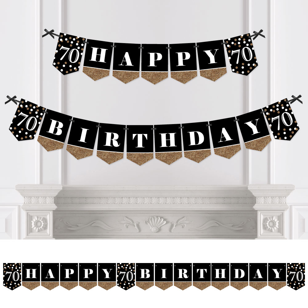 adult 70th birthday  gold  birthday party bunting banner  happy