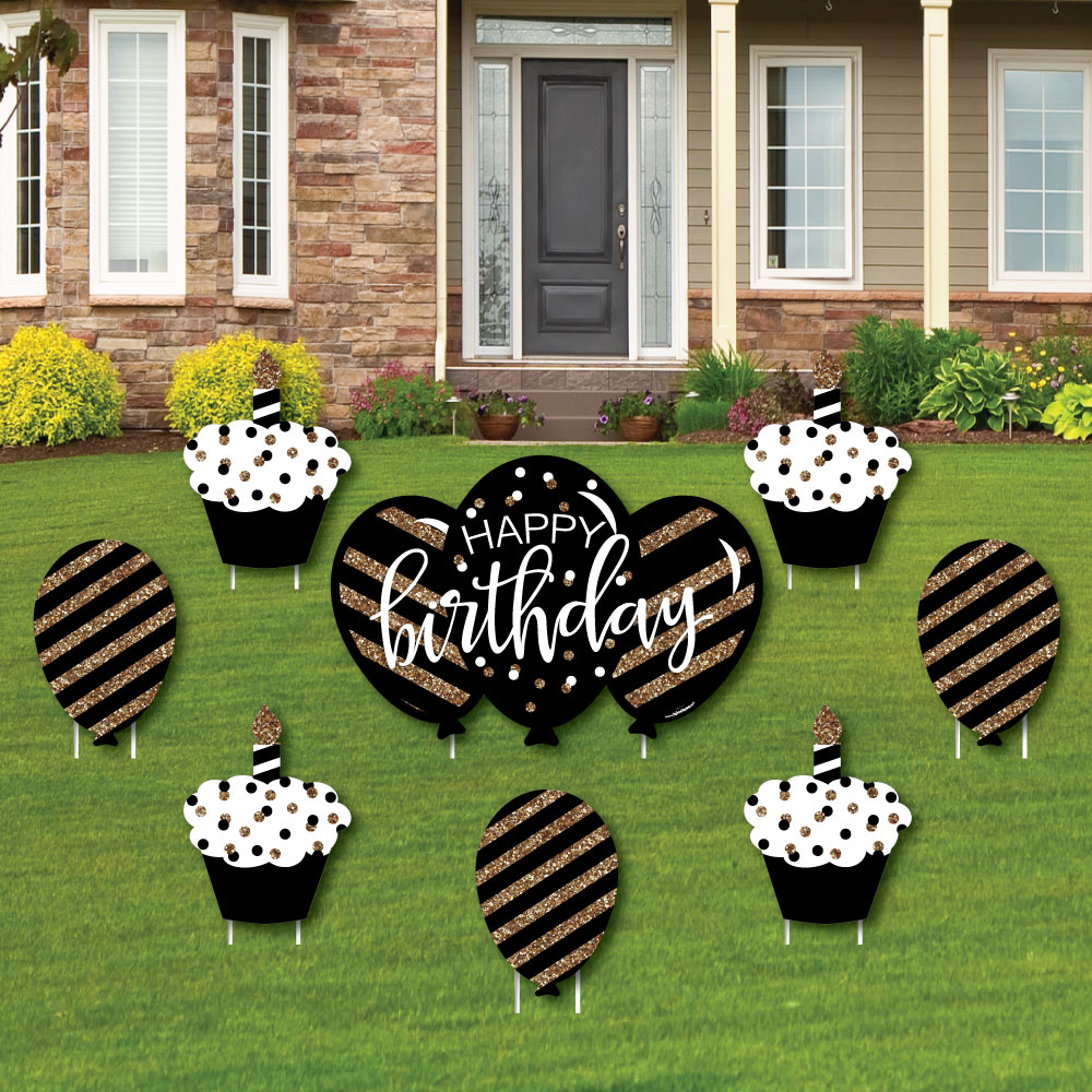 Adult Happy Birthday Gold Cupcake Balloon Yard Sign Outdoor Lawn
