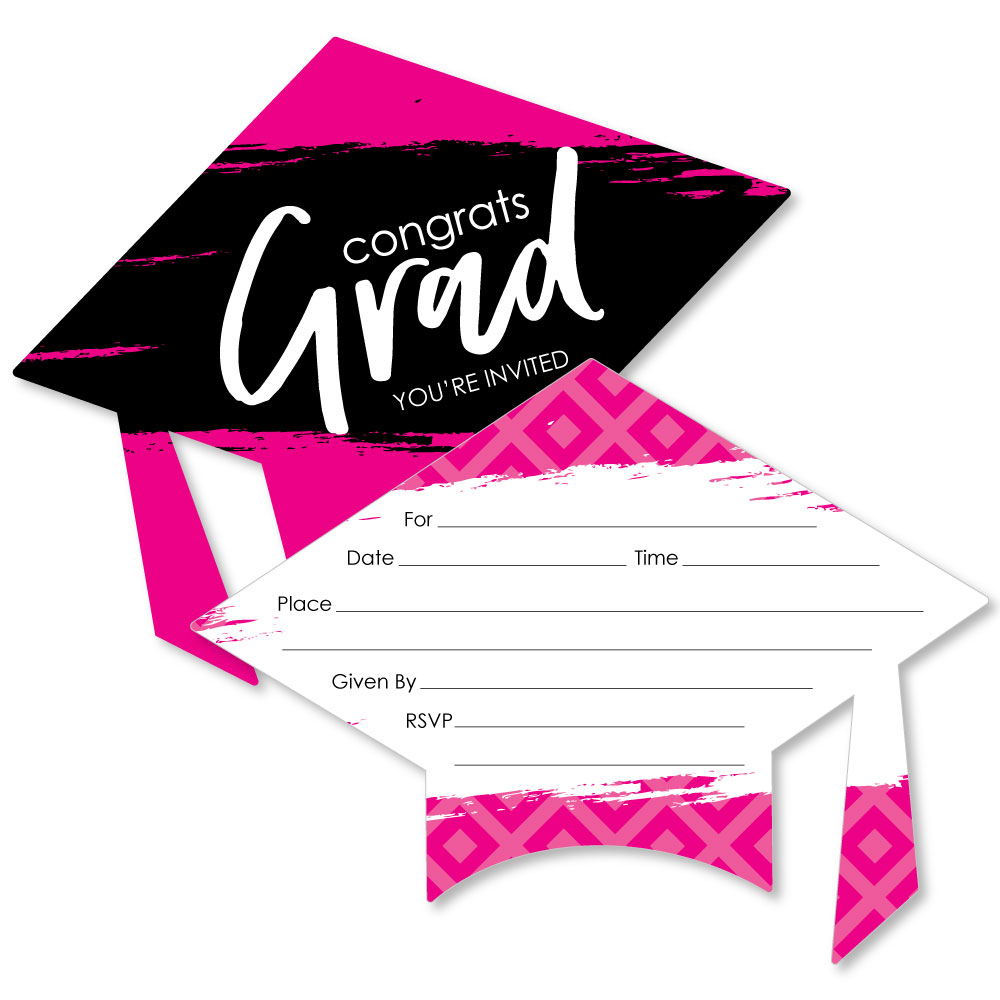 grad cap shaped fill in invitations pink graduation party invitation