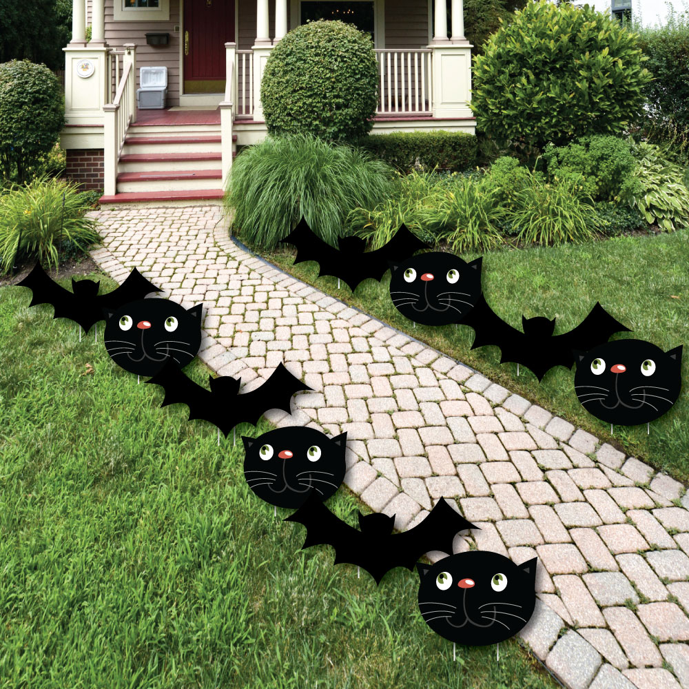 Black Cats And Bats - Cat and Bat Lawn Decor -Outdoor Halloween Yard ...