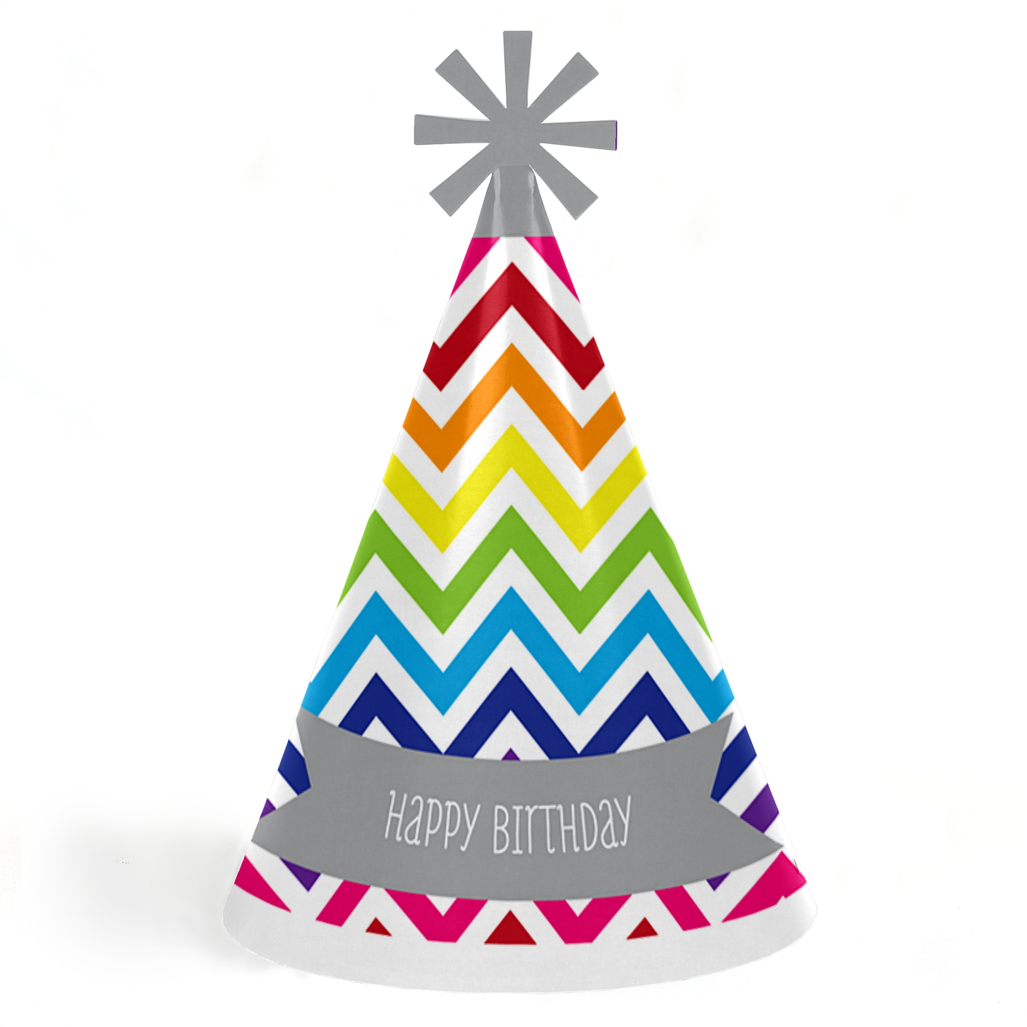 Chevron Rainbow Cone Happy Birthday Party Hats For Kids And Adults
