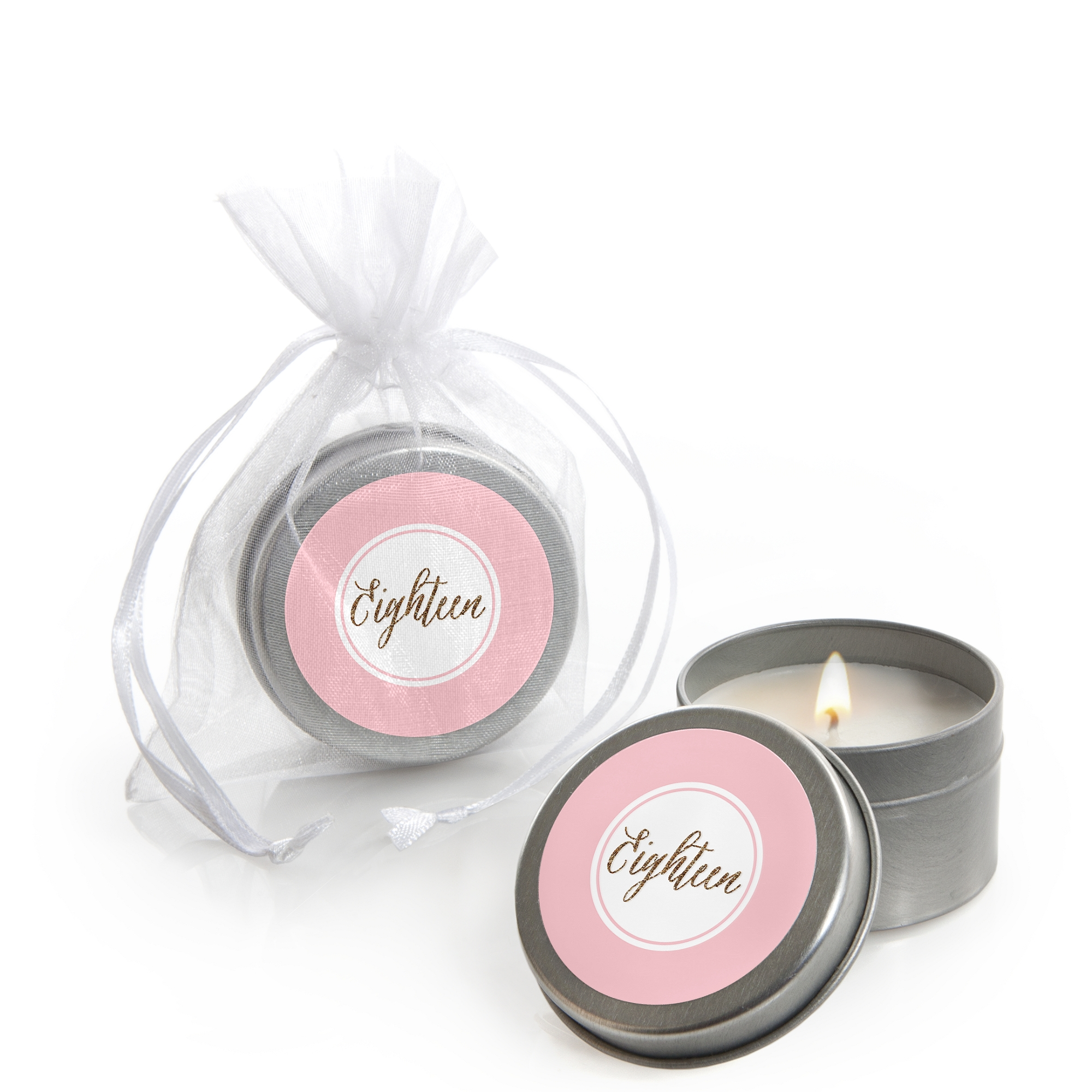 Chic 18th Birthday - Pink and Gold - Candle Tin Party Favors (Set of ...