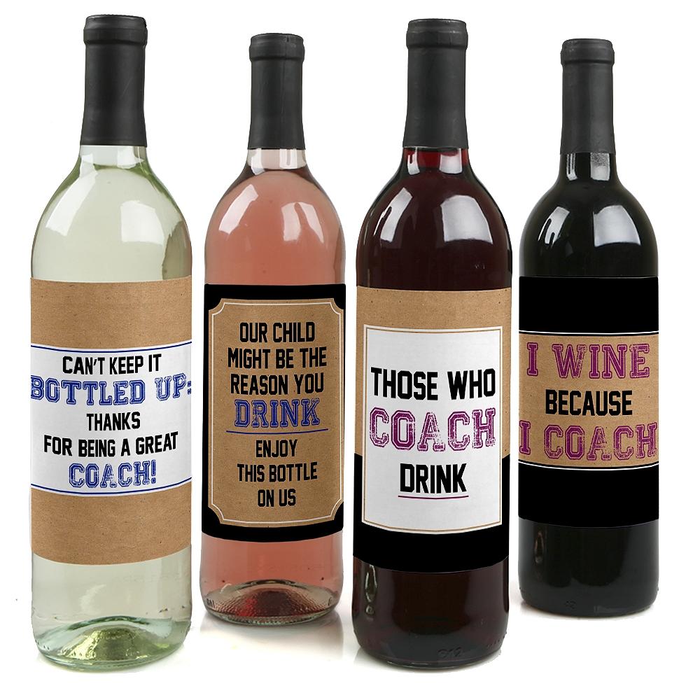 Coach Appreciation Gift - Wine Bottle Label Stickers Coach Gift ...