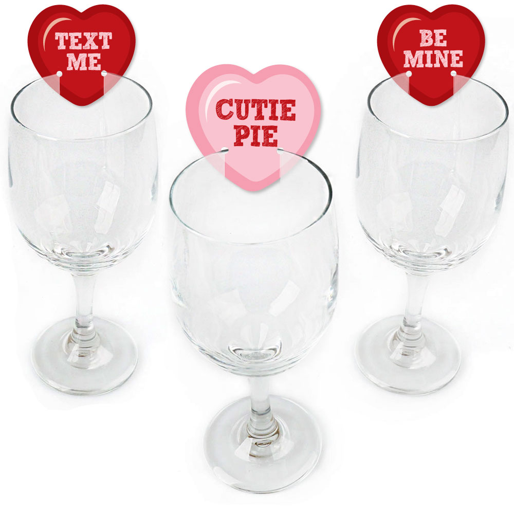Conversation Hearts Shaped Valentine S Day Wine Glass Markers